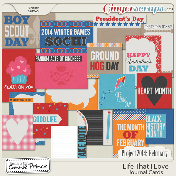 Project 2014 February:  Life That I Love - Journal Cards