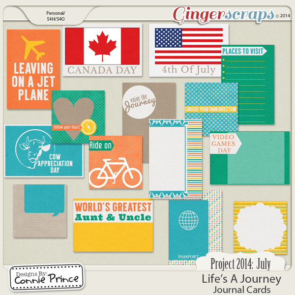 Project 2014 July: Life's A Journey - Journal Cards