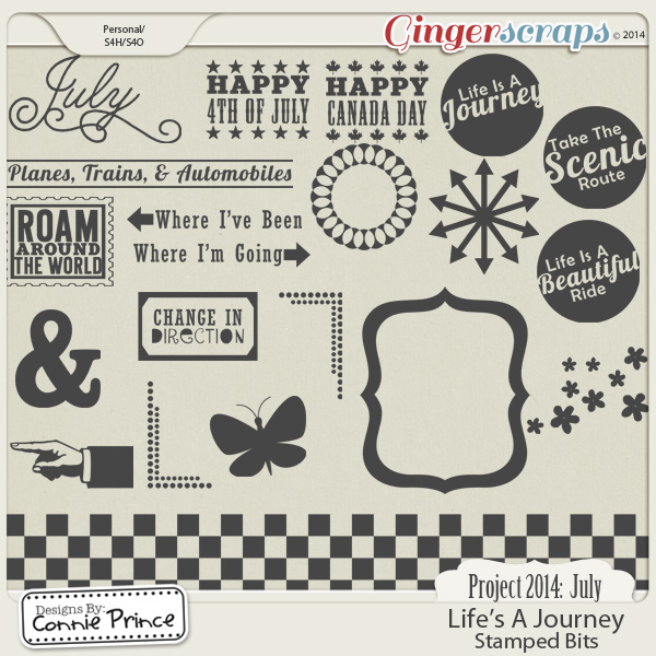 Project 2014 July: Life's A Journey - Stamped Bits