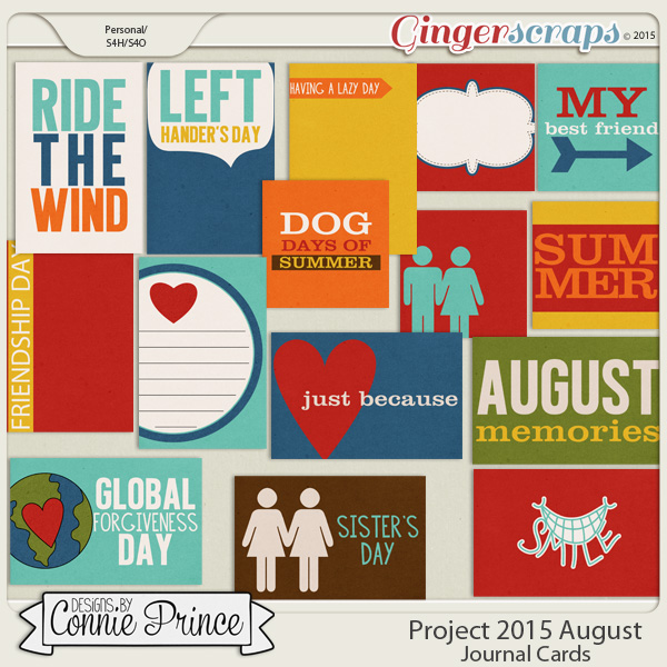 Project 2015 August - Journal Cards