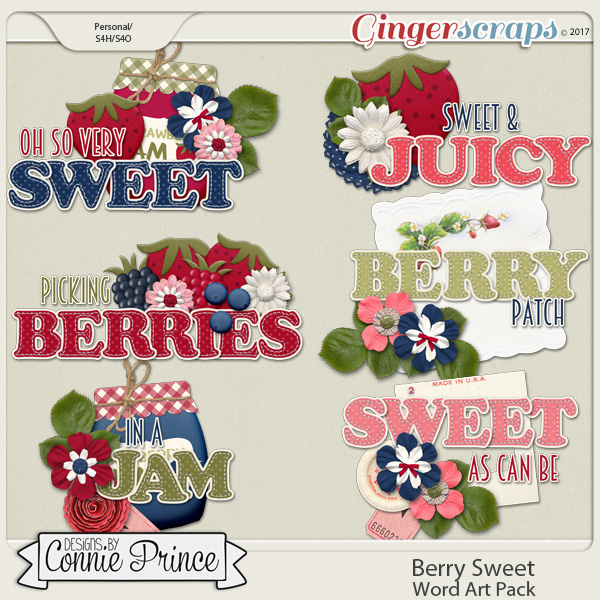 Berry Sweet - Word Art Pack