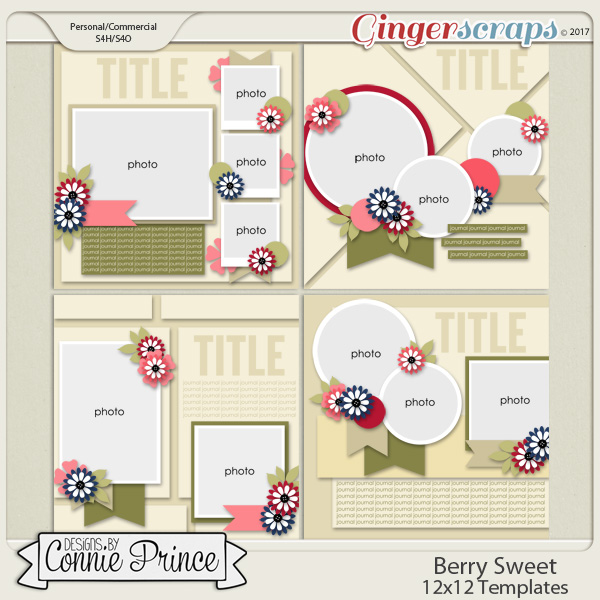 Berry Sweet - 12x12 Templates (CU Ok)