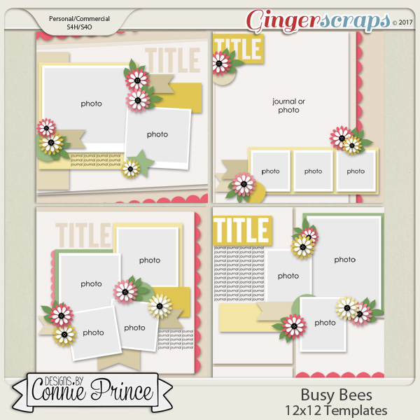Busy Bees - 12x12 Templates (CU Ok)