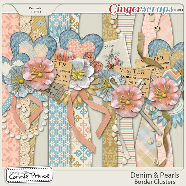 Denim & Pearls - Border Clusters