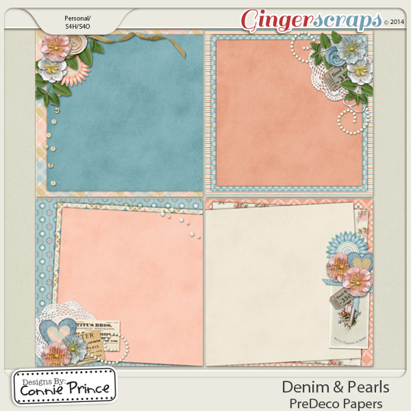 Denim & Pearls - PreDeco Papers
