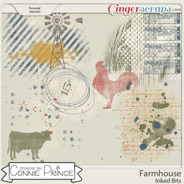 Farmhouse- Inked Bits by Connie Prince