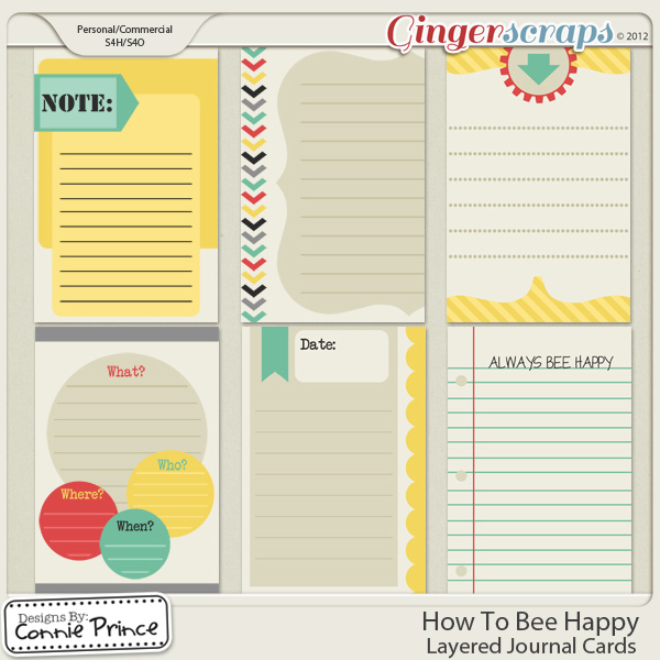 How To Bee Happy - Journal Card Temps (CU Ok)