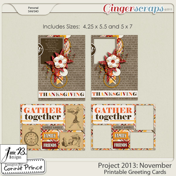 Project 2013:  November - Printable Greeting Cards