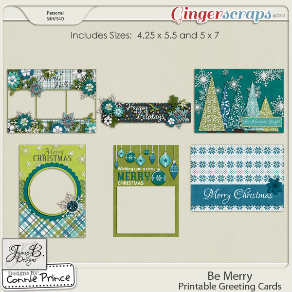 Be Merry - Printable Greeting Cards