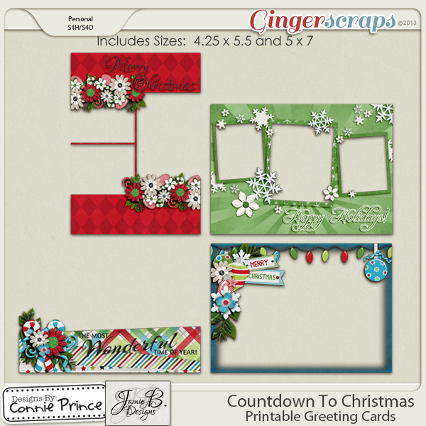Countdown To Christmas - Printable Greeting Cards