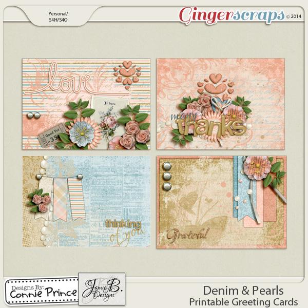 Retiring Soon - Denim & Pearls - Printable Greeting Cards