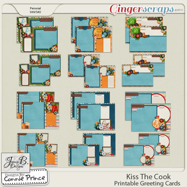 Kiss The Cook - Printable Recipe Cards