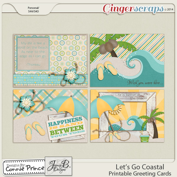 Let's Go Coastal - Printable Greeting Cards