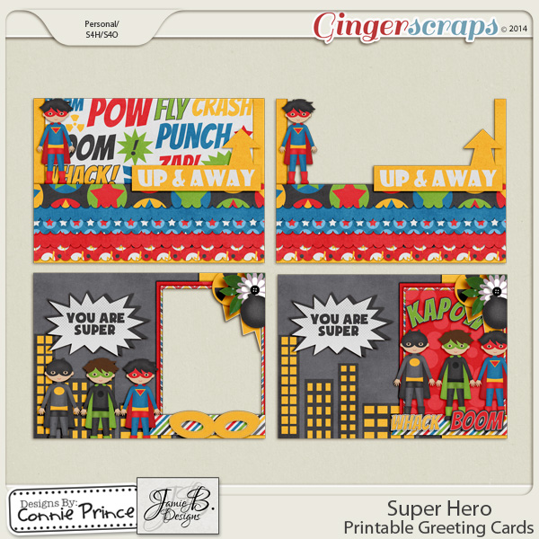 Super Hero - Printable Greeting Cards