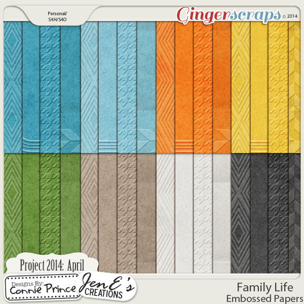 Project 2014 April:  Family Life - Embossed Papers