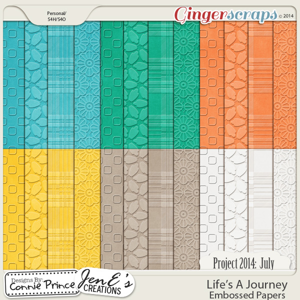 Project 2014 July: Life's A Journey - Embossed Papers