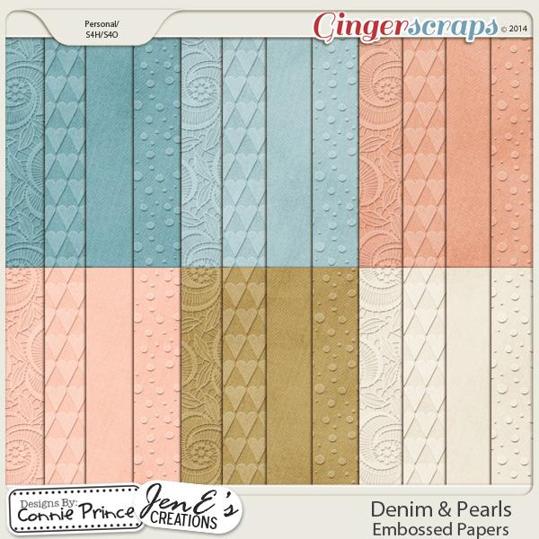 Denim & Pearls - Embossed Papers