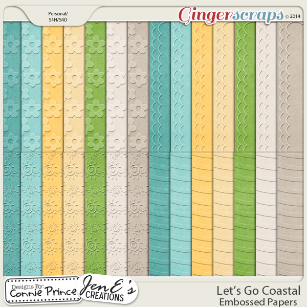 Let's Go Coastal  - Embossed Papers