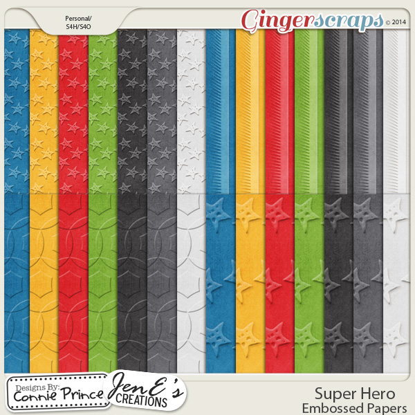 Super Hero - Embossed Papers