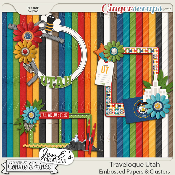 Travelogue Utah - Embossed Papers & Cluster Pack Combo