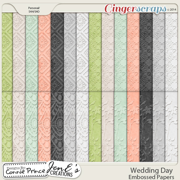 Wedding Day - Embossed Papers
