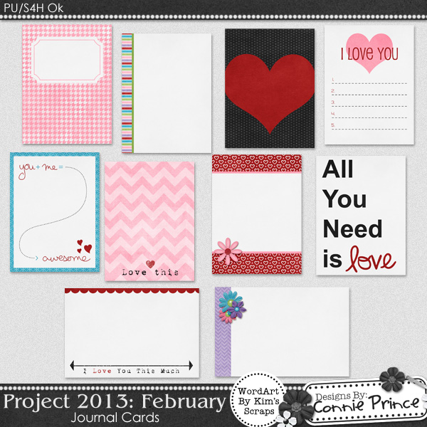 Project 2013: February - Journal Cards