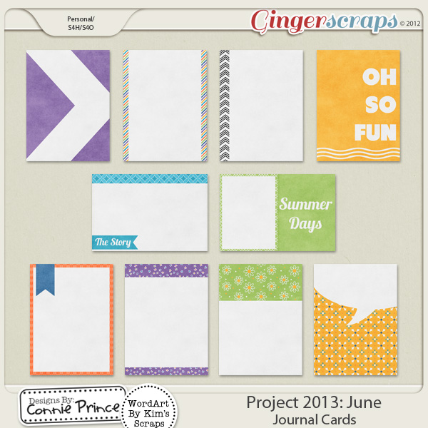 Project 2013: June - Journal Cards