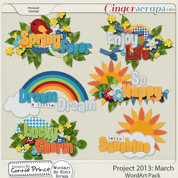 Project 2013: March - WordArt Pack