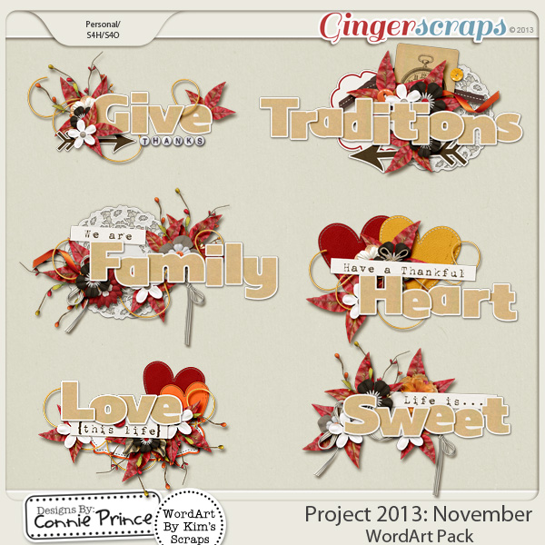 Project 2013:  November - WordArt Pack