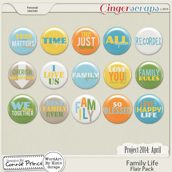 Retiring Soon - Project 2014 April:  Family Life - Flair Pack