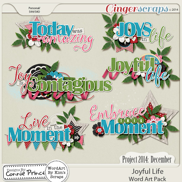 Project 2014 December: Joyful Life - WordArt Pack