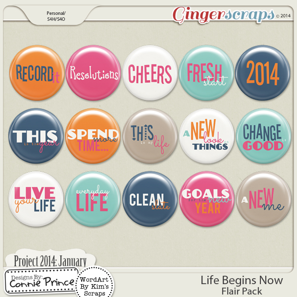 Project 2014 January:  Life Begins Now - Flair Pack