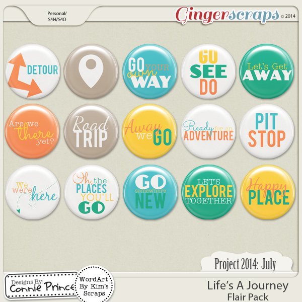 Project 2014 July: Life's A Journey - Flair Pack