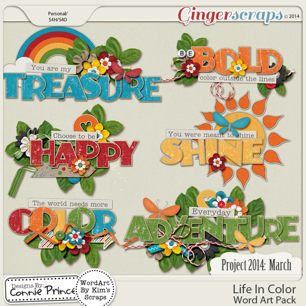Project 2014 March: Life In Color - WordArt Pack