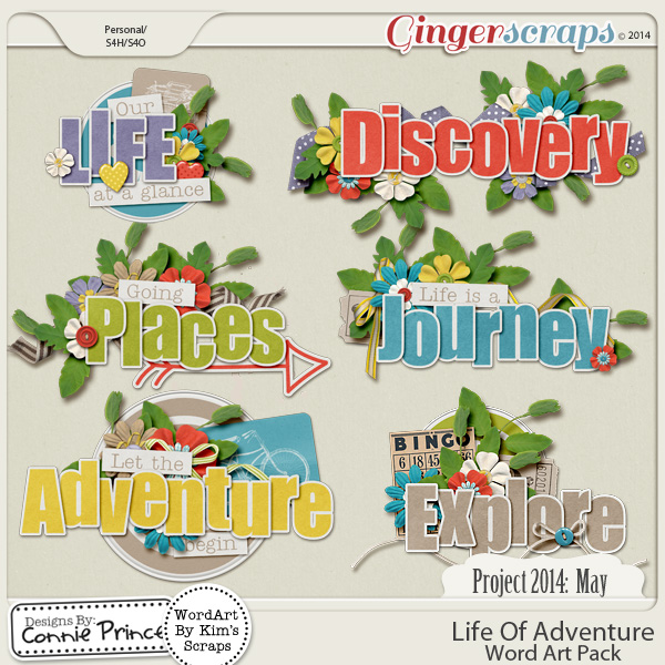 Project 2014 May:  Life Of Adventure - WordArt Pack