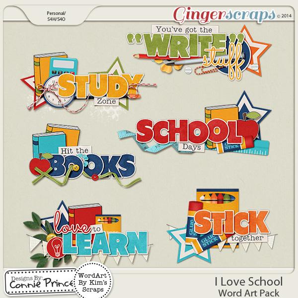 I Love School - Word Art