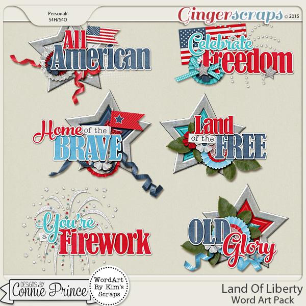 Land Of Liberty - WordArt Pack