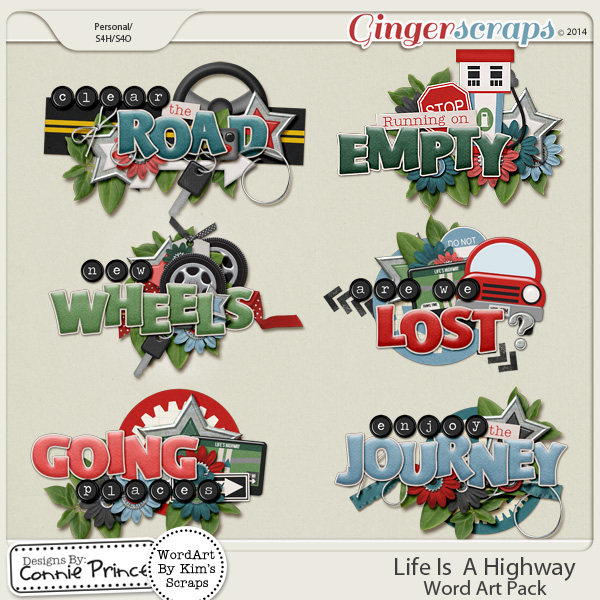 Life Is A Highway- Word Art Pack