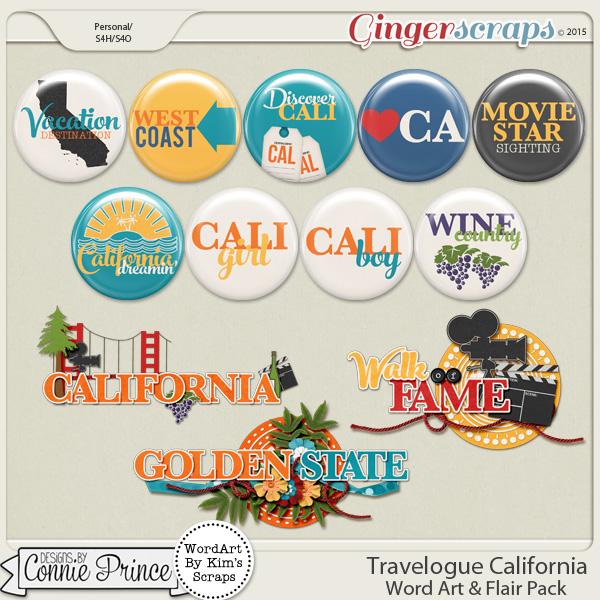 Travelogue California - Word Art & Flair Pack