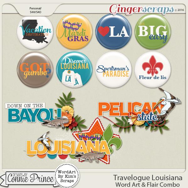 Travelogue Louisiana - Word Art & Flair Pack