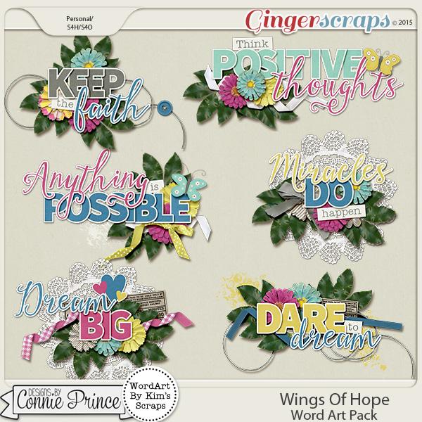 Wings Of Hope - Word Art