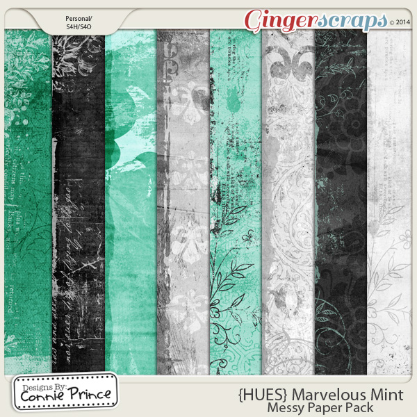 {HUES} Marvelous Mint - Messy Paper Pack