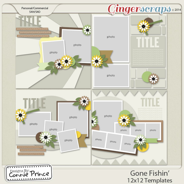 Gone Fishin' - 12x12 Templates  (CU Ok)