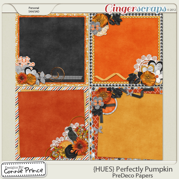 {HUES} Perfectly Pumpkin - PreDeco Papers