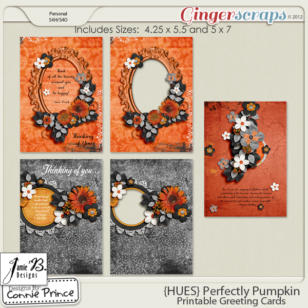 {HUES} Perfectly Pumpkin - Printable Greeting Cards