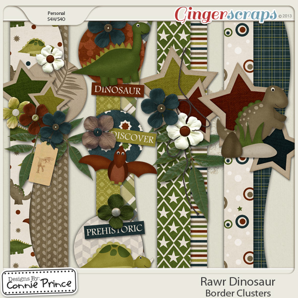 Rawr Dinosaur - Border Clusters