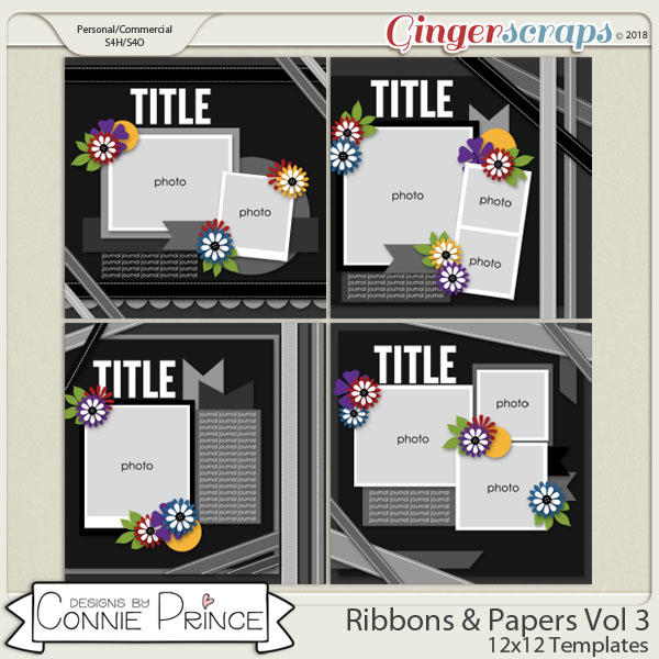 Ribbons & Papers Volume 3 - 12x12 Temps (CU Ok) by Connie Prince