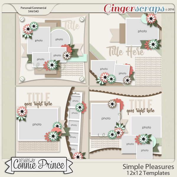 Simple Pleasures - 12x12 Templates (CU Ok)