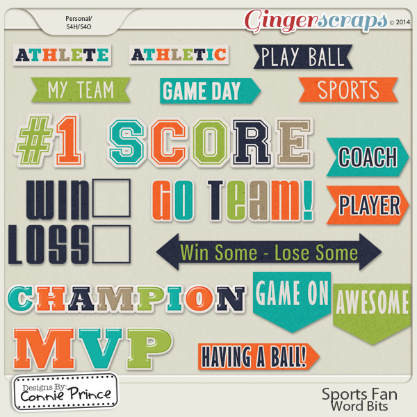 team words gingerscraps embellishments sports fan word bits