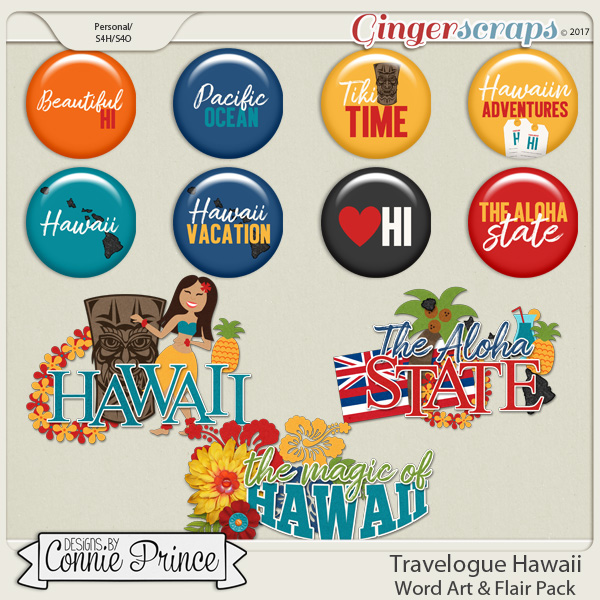 Travelogue Hawaii - Word Art & Flair Pack